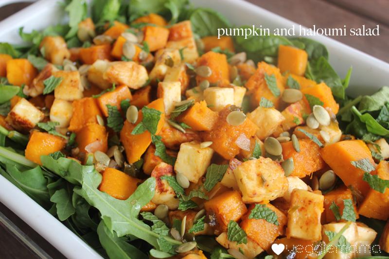 Pumpkin and haloumi salaid with honey jalapeno dressing recipe   veggie mama