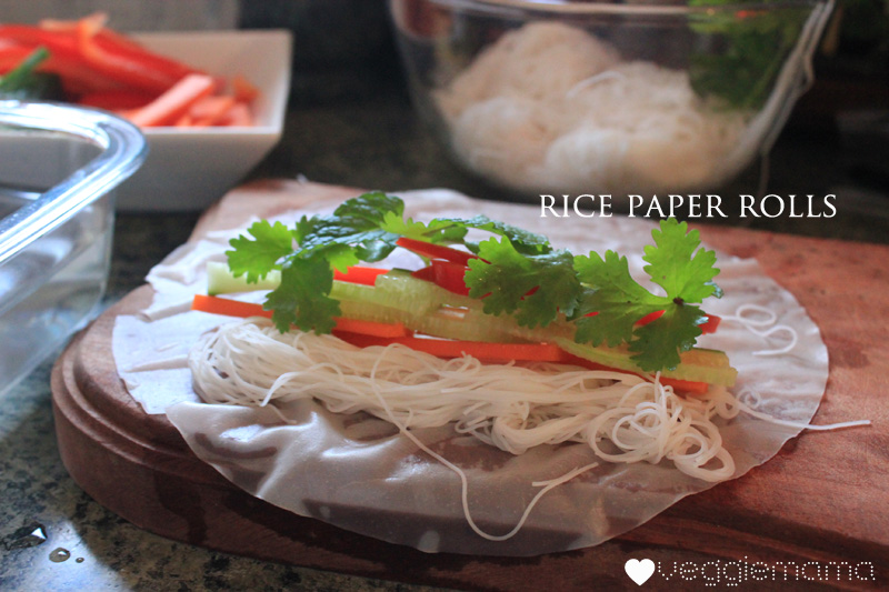 How to make easy rice paper rolls | Veggie mama