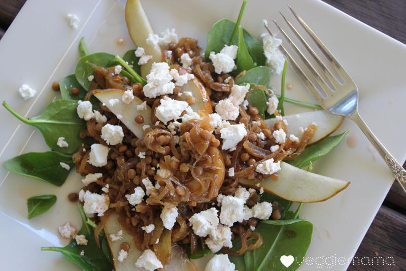 Caramelised onion, pear and feta salad recipe | Veggie mama