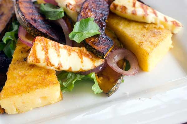 Pumpkin and haloumi salad with fried polenta | Veggie Mama
