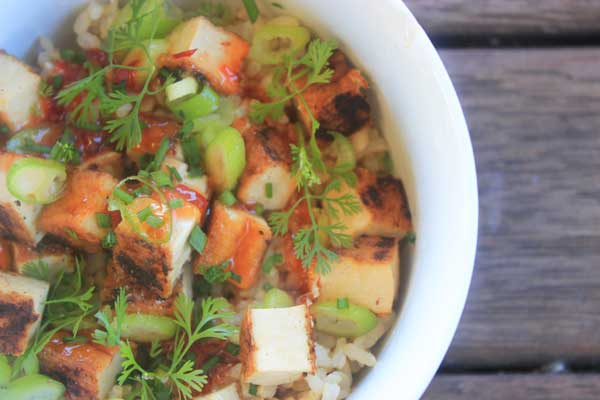 Sweet chilli tofu and rice recipe | Veggie Mama