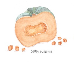 Lauren Merrick Illustration | pumpkin and haloumi salad | Veggie Mama