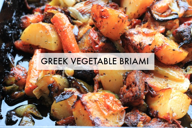 Briami Greek vegetable stew recipe: A delicious, silky blend of veggies, garlic, and lemon braised together in the oven to make a delectable Greek vegetarian stew