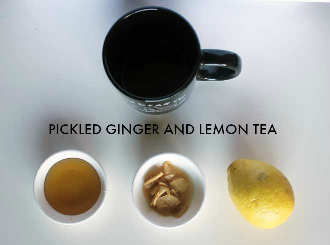 Pickled ginger and lemon tea: An easy way to keep ginger on hand for days when you need tea!