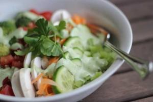 Quinoa and Raw Veggie Salad with Green Goddess Dressing
