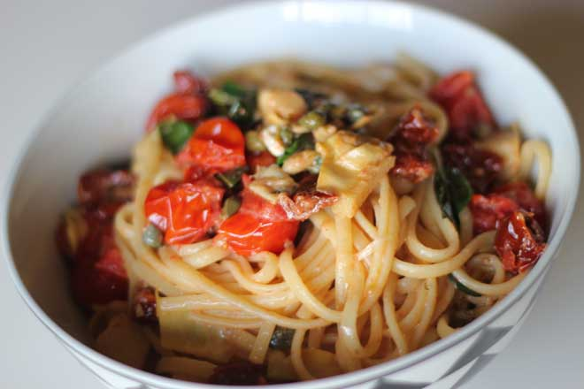 When you've got nothing in the pantry or fridge but spaghetti and some olives, make this antipasto pasta! It's so filling and delicious.