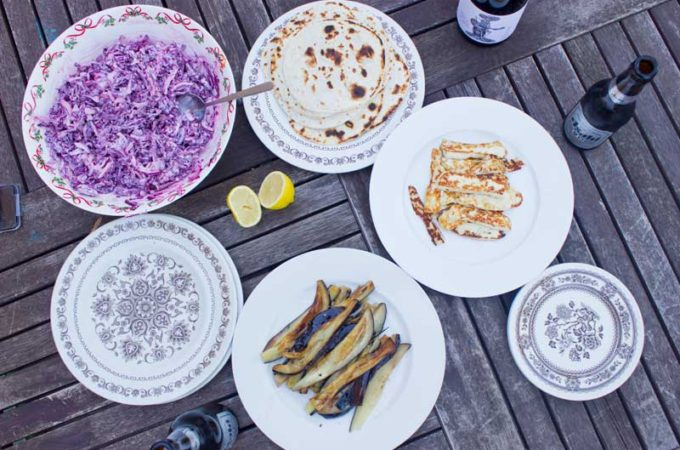 haloumi and eggplant mingle with a smoky, spicy chipotle coleslaw for a taco that makes you think all is right with the world.
